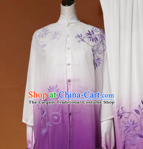 Chinese Traditional Tai Chi Training Embroidered Purple Silk Uniform Kung Fu Group Competition Costume for Women