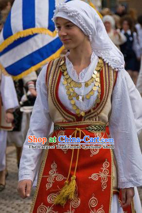 Traditional Greek Festival Costume Ancient Greece Celebration Red Dress for Women