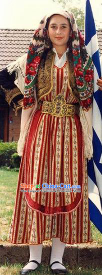 Traditional Greek Festival Costume Ancient Greece Countrywoman Dress for Women