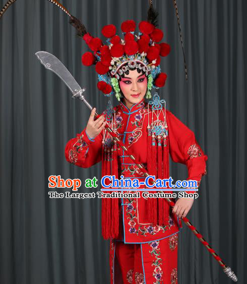 Professional Chinese Traditional Beijing Opera Blues Magic Warriors Red Costume for Adults