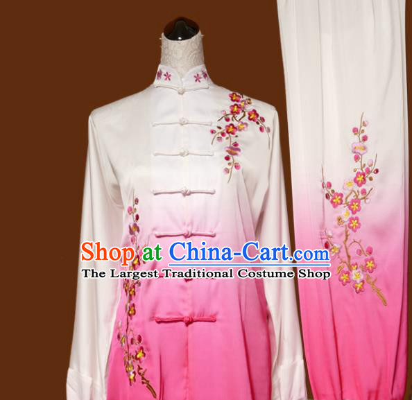 Chinese Traditional Tai Chi Embroidered Plum Blossom Pink Uniform Kung Fu Group Competition Costume for Women