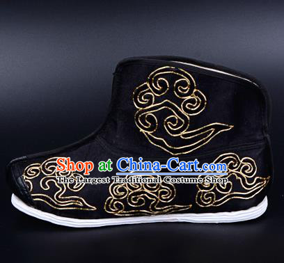 Professional Chinese Beijing Opera Takefu Shoes Ancient Traditional Black Embroidered Boots for Men