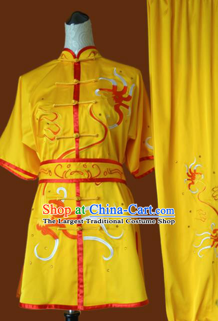 Top Grade Kung Fu Embroidered Yellow Costume Chinese Martial Arts Training Tai Ji Uniform for Adults
