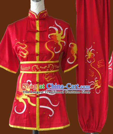 Top Grade Kung Fu Red Costume Chinese Martial Arts Training Uniform for Adults