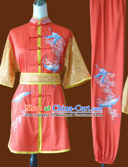 Top Grade Kung Fu Orange Costume Chinese Martial Arts Training Uniform for Adults