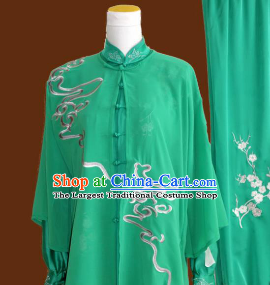 Top Grade Kung Fu Embroidered Green Costume Chinese Tai Chi Martial Arts Training Uniform for Adults
