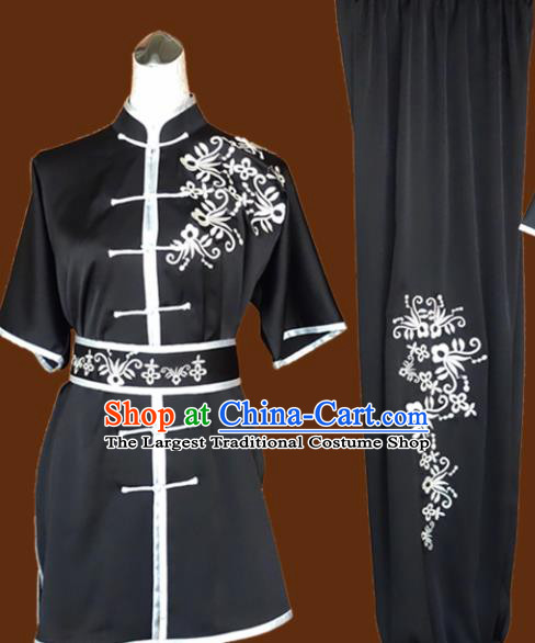 Chinese Traditional Martial Arts Embroidered Black Uniform Kung Fu Group Competition Costume for Women