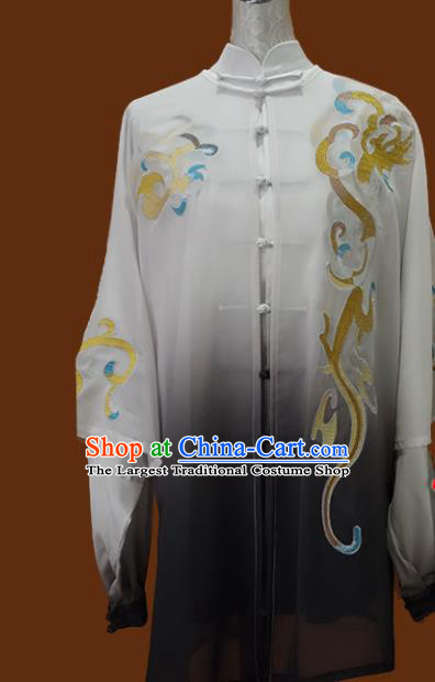 Top Grade Kung Fu Grey Silk Costume Chinese Tai Chi Martial Arts Training Uniform for Adults