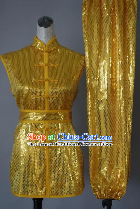 Top Grade Kung Fu Golden Costume Chinese Tai Chi Martial Arts Training Uniform for Adults