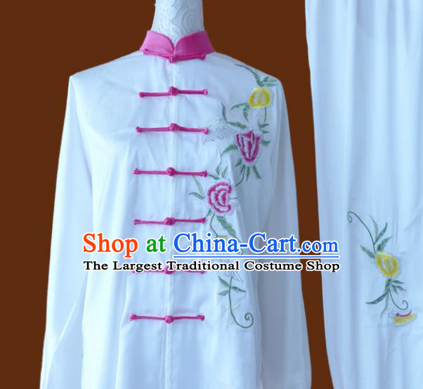 Chinese Traditional Tai Chi Embroidered Peony White Uniform Kung Fu Group Competition Costume for Women