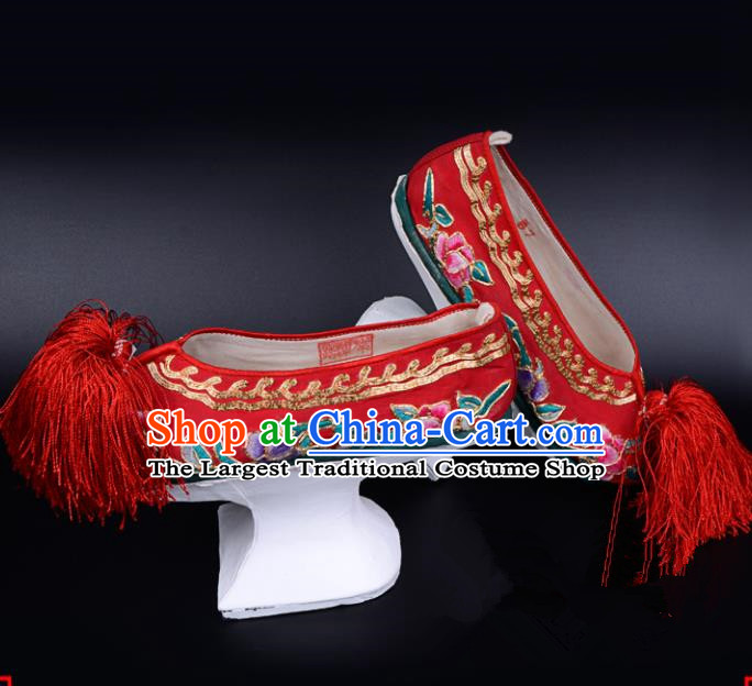 Professional Chinese Beijing Opera Shoes Ancient Qing Dynasty Princess Red Embroidered Shoes for Women