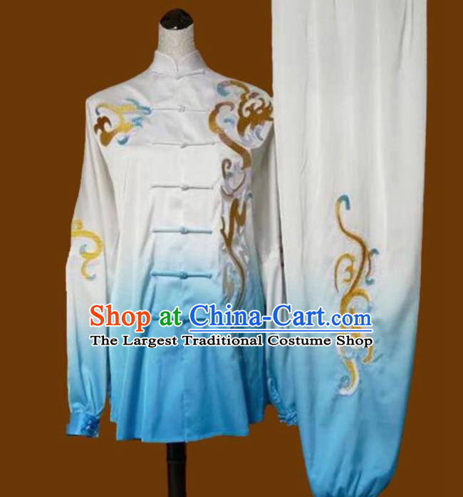 Top Grade Kung Fu Embroidered Blue Tai Ji Costume Chinese Martial Arts Training Uniform for Adults