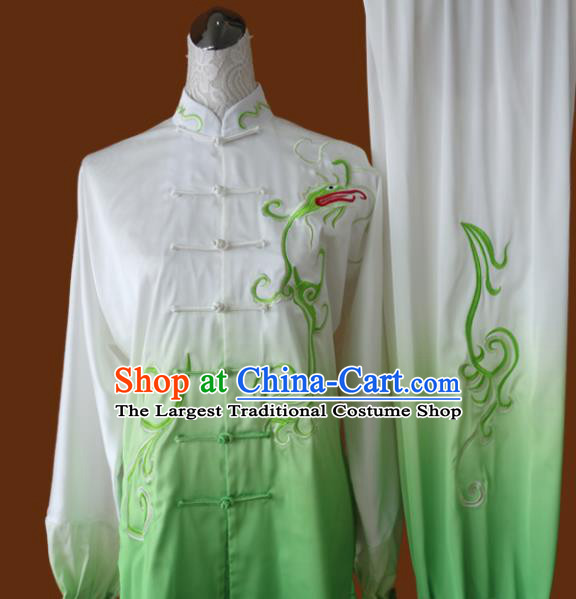 Top Grade Kung Fu Embroidered Green Tai Ji Costume Chinese Martial Arts Training Uniform for Adults
