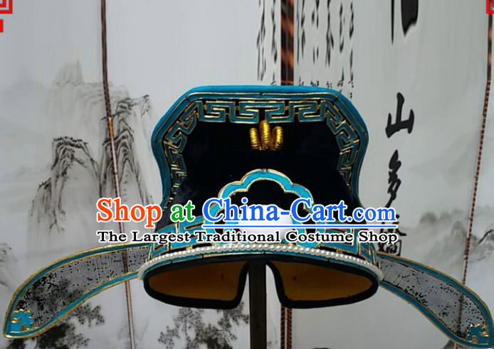 Chinese Beijing Opera Hair Accessories Ancient Number One Scholar Black Hat for Men