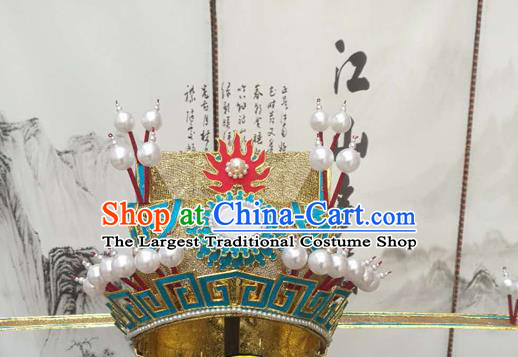 Chinese Beijing Opera Old Men Helmet Hair Accessories Ancient Prime Minister Golden Hat for Men