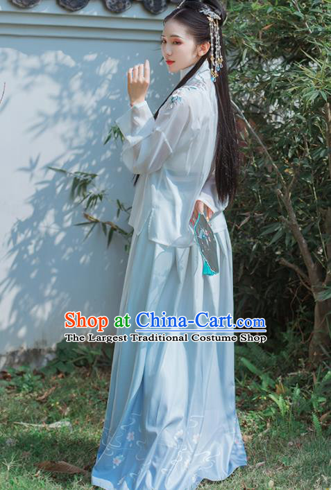 Chinese Traditional Embroidered Hanfu Dress Ancient Ming Dynasty Young Lady Historical Costume for Women
