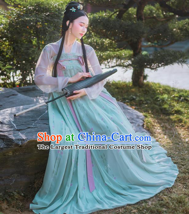 Chinese Ancient Palace Traditional Green Hanfu Dress Tang Dynasty Princess Historical Costume for Women