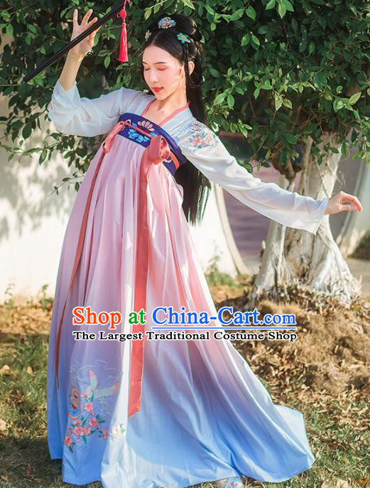 Chinese Ancient Embroidered Hanfu Dress Tang Dynasty Princess Traditional Historical Costume for Women