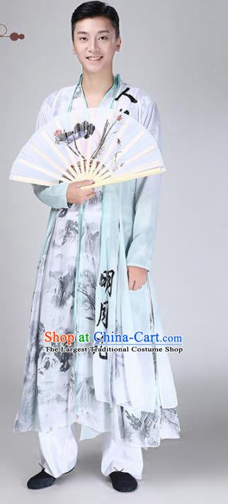 Chinese Traditional National Stage Performance Costume Classical Dance Ink Painting Clothing for Men