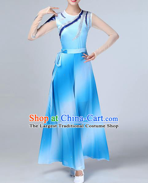Chinese Traditional Stage Performance Dance Costume Folk Dance Blue Clothing for Women
