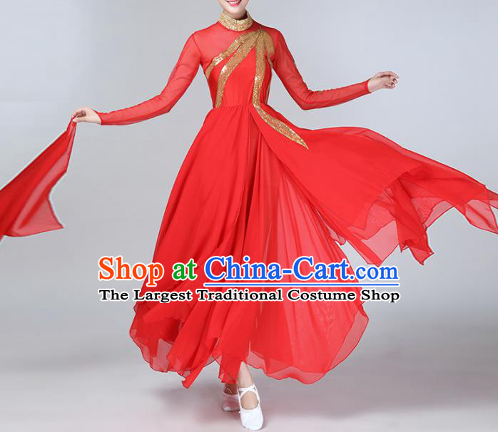 Chinese Traditional Stage Performance Umbrella Dance Costume Classical Dance Red Dress for Women