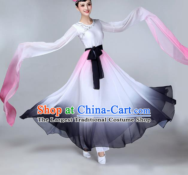 Chinese Traditional Stage Performance Umbrella Dance Costume Classical Dance Water Sleeve Dress for Women