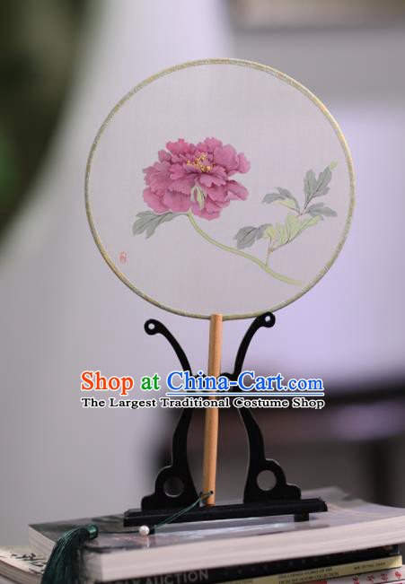 Chinese Traditional Handmade Round Fans Classical Painting Peony Palace Fan for Women