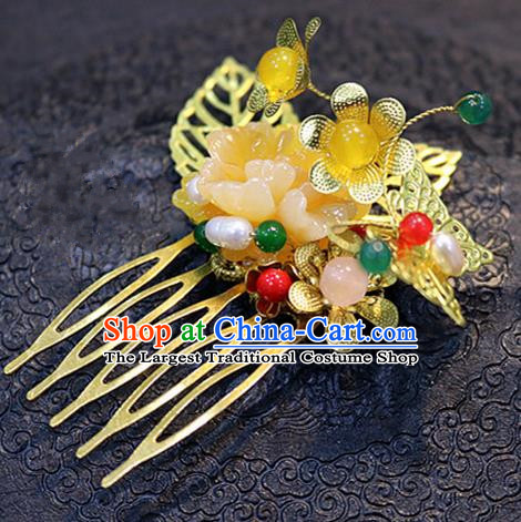 Chinese Ancient Handmade Golden Butterfly Hair Comb Hairpins Traditional Classical Hair Accessories for Women