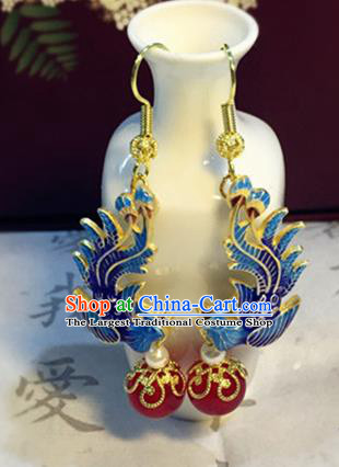 Chinese Ancient Traditional Handmade Cloisonne Phoenix Earrings Classical Ear Accessories for Women