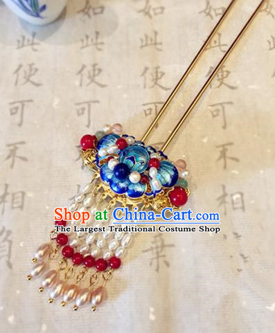 Chinese Ancient Handmade Palace Pearls Tassel Blueing Hairpins Traditional Classical Hair Accessories for Women