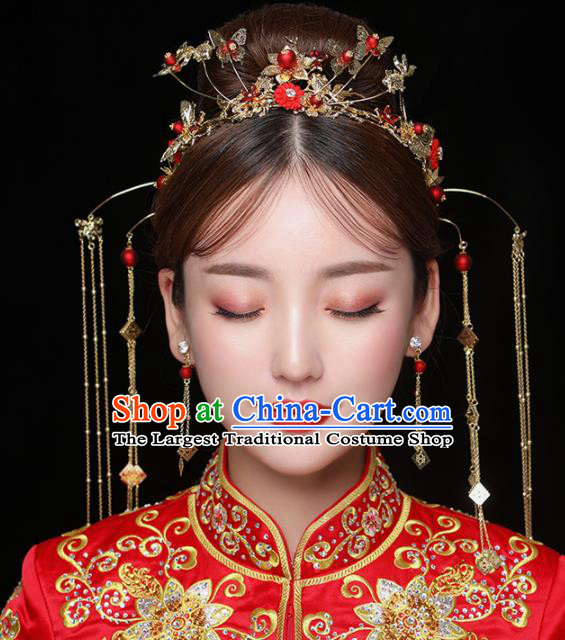 Chinese Ancient Handmade Tassel Phoenix Coronet Bride Hairpins Traditional Classical Wedding Hair Accessories for Women