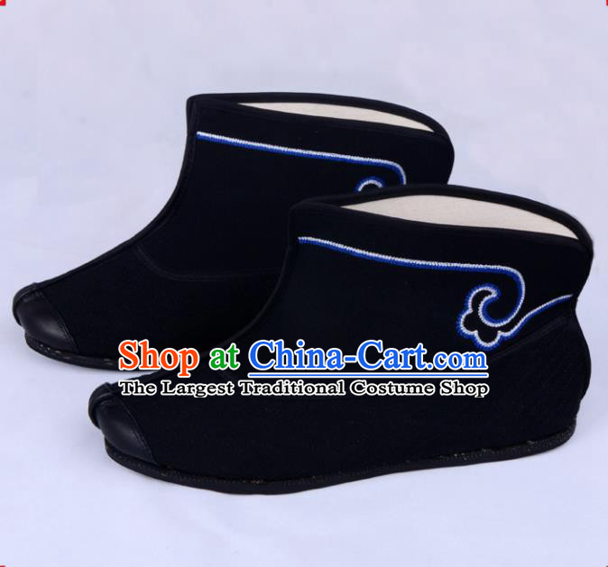 Professional Chinese Beijing Opera Takefu Shoes Ancient Swordsman Black Boots for Men