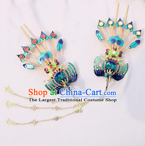 Chinese Traditional Handmade Blueing Hairpins Phoenix Step Shake Classical Hair Accessories for Women