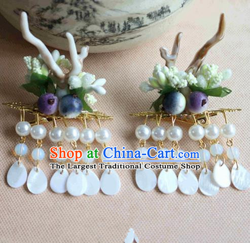 Chinese Ancient Traditional Handmade Horn Tassel Hair Claws Classical Hair Accessories for Women