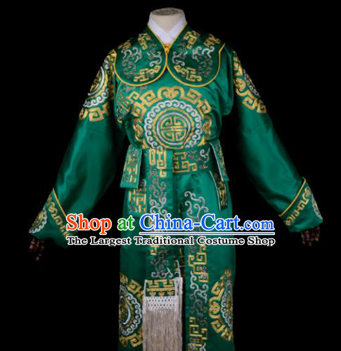 Professional Chinese Beijing Opera Takefu Costume Ancient Swordsmen Green Clothing for Adults