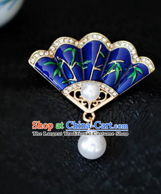 Chinese Traditional Handmade Cloisonne Brooch Classical Accessories Fan Breastpin for Women