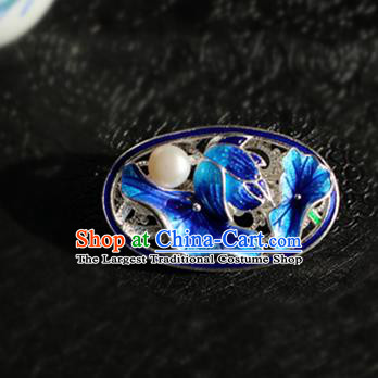 Chinese Traditional Handmade Cloisonne Blue Lotus Leaf Brooch Classical Accessories Breastpin for Women