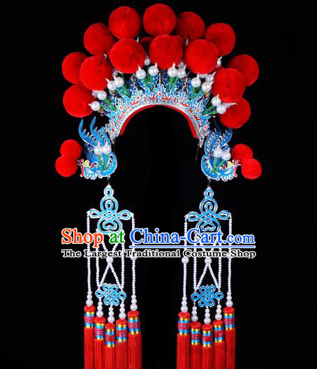 Chinese Beijing Opera Imperial Consort Hair Accessories Ancient Palace Red Phoenix Coronet for Women