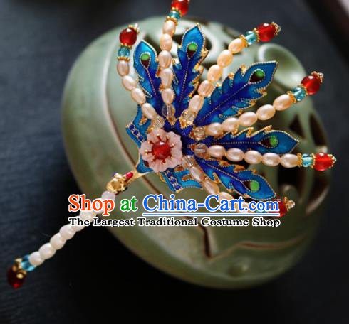 Chinese Ancient Handmade Cloisonne Phoenix Pearls Hair Crown Hairpins Traditional Classical Hair Accessories for Women