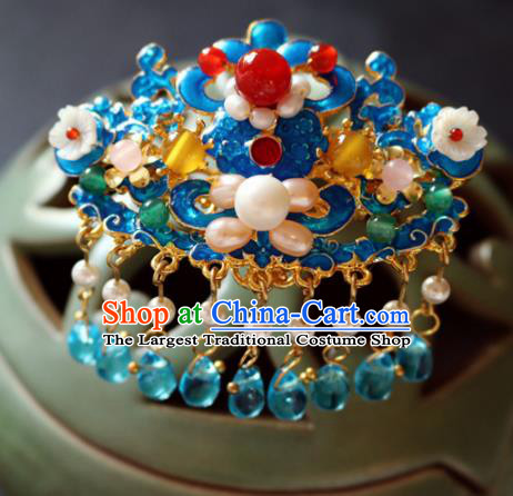 Chinese Ancient Handmade Cloisonne Pearls Hair Crown Hairpins Traditional Classical Hair Accessories for Women