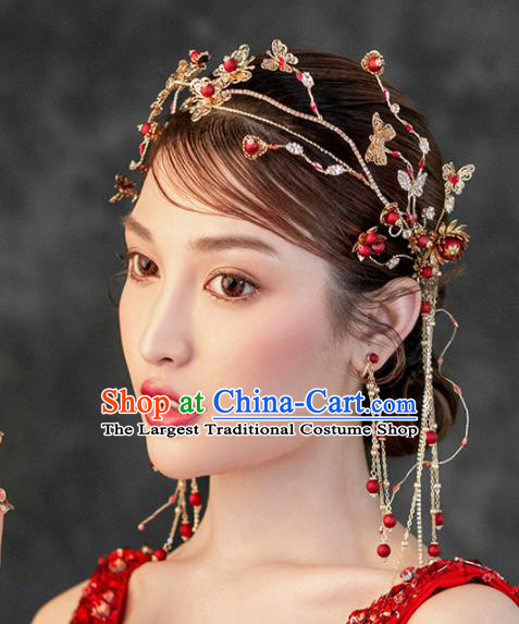 Chinese Ancient Handmade Bride Tassel Hair Clasp Hairpins Traditional Classical Wedding Hair Accessories for Women