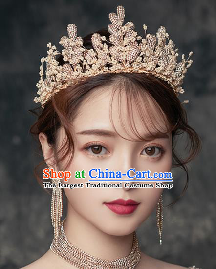 Top Grade Handmade Wedding Golden Royal Crown Bride Zircon Hair Accessories for Women