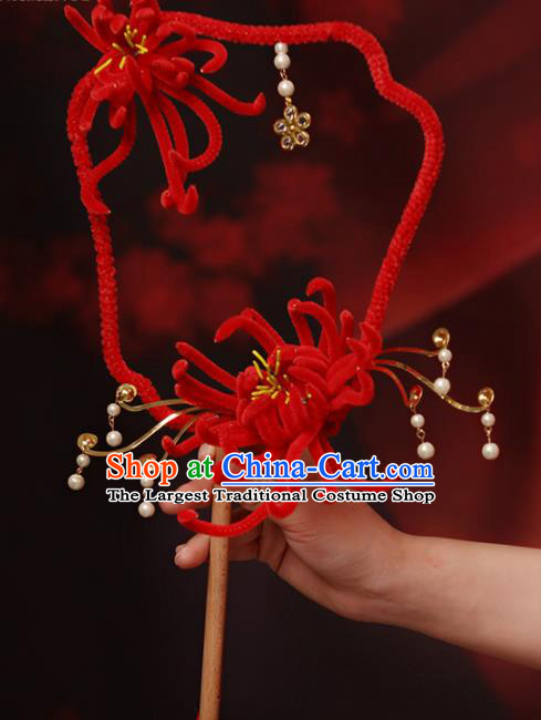 Chinese Handmade Classical Palace Fans Wedding Bride Accessories Red Chrysanthemum Round Fan for Women