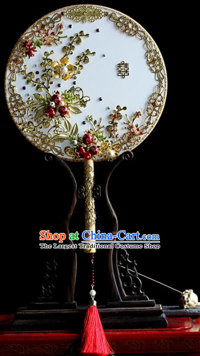 Chinese Handmade Classical Palace Fans Wedding Bride Accessories Round Fan for Women
