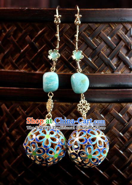 Top Grade Chinese Handmade Enamel Earrings Traditional Bride Tassel Ear Accessories for Women