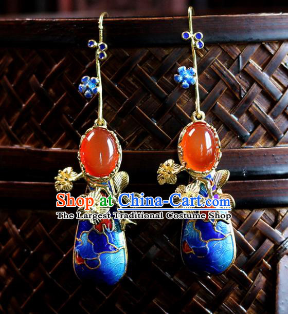 Top Grade Chinese Handmade Blueing Agate Earrings Traditional Bride Tassel Ear Accessories for Women