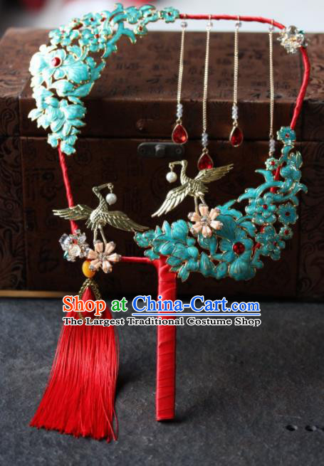 Chinese Handmade Bride Classical Cloisonne Palace Fans Wedding Accessories Round Fan for Women