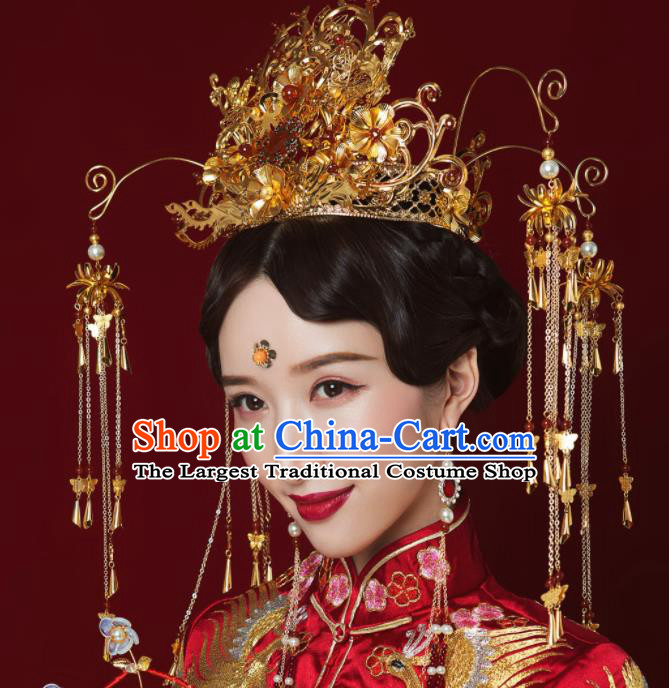 Top Grade Chinese Ancient Queen Golden Phoenix Coronet Hairpins Traditional Hair Accessories Headdress for Women