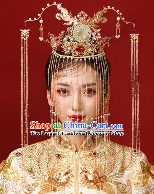 Chinese Ancient Bride Jade Phoenix Coronet Hairpins Traditional Wedding Hair Accessories for Women