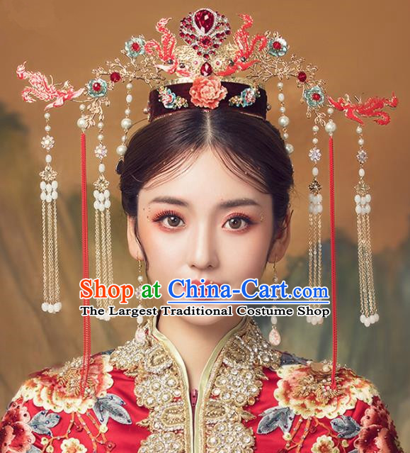 Chinese Ancient Palace Red Phoenix Coronet Hairpins Traditional Wedding Hair Accessories for Women